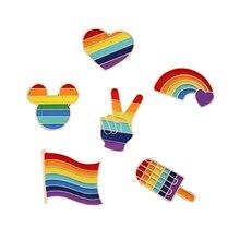Creative arc-en-ciel coeur doigt drapeau amour est amour broches broches LGBT conception en métal Badges Gay lesbienne fierté épinglette bijoux cadeaux
