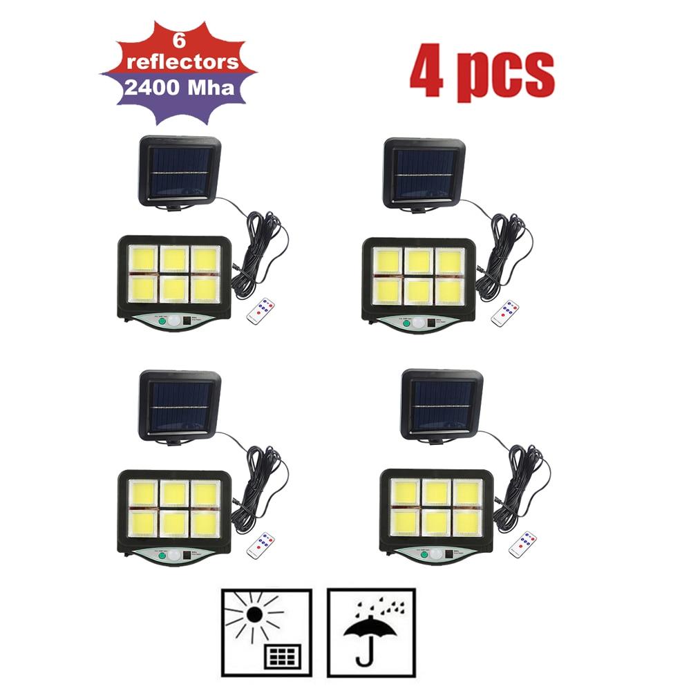 4pcs seperable 120 LED Solar Light Outdoor Solar Lamp PIR Motion Sensor Solar Powered Street porch Path Sunlight for Garden Deco