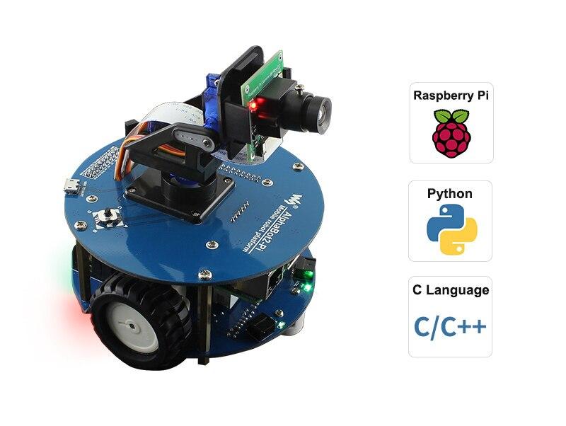 AlphaBot2-Robot de vídeo inteligente, inalámbrico, accionado por Raspberry Pi 4, modelo B, enchufe de alimentación para EE. UU./UE