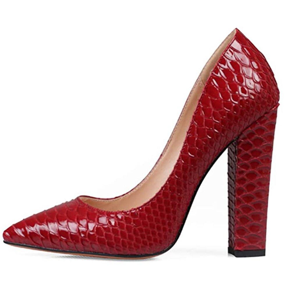 Lovirs المرأة مثير الأفعى أشار تو كتلة الكعوب الانزلاق على مضخات رائع مساء أحذية الحفلات النساء صندل بكعب مكتنز مضخات لنا 5-15