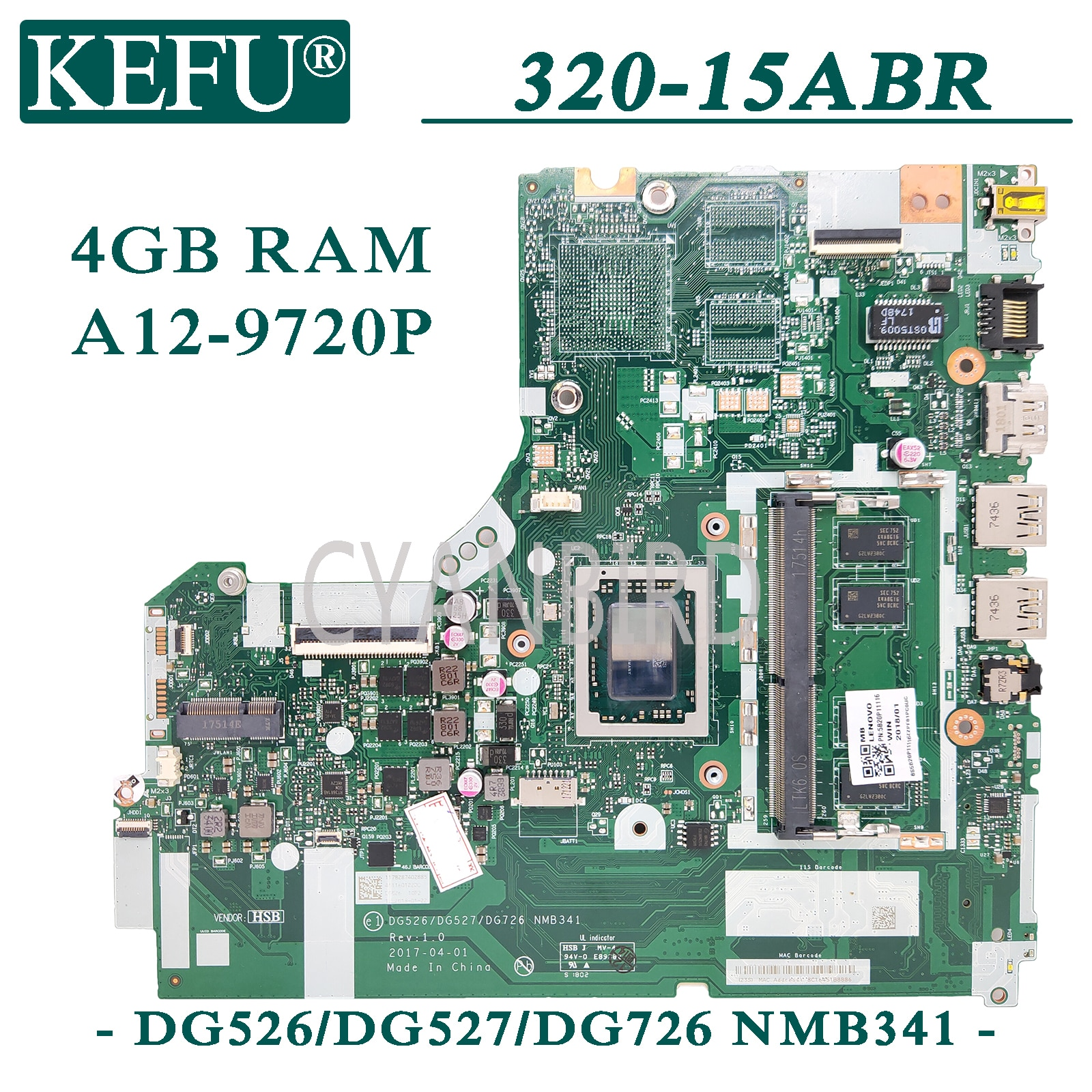 KEFU NMB341 اللوحة الرئيسية الأصلية لينوفو 320-15ABR مع 4GB-RAM A12-9720P اللوحة الأم للكمبيوتر المحمول