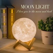 USB LED Light lampa wydruk 3D księżyc akumulator kolor akumulator 3D światło dotykowy lampa księżycowa lampki nocne dla dzieci kolorowe