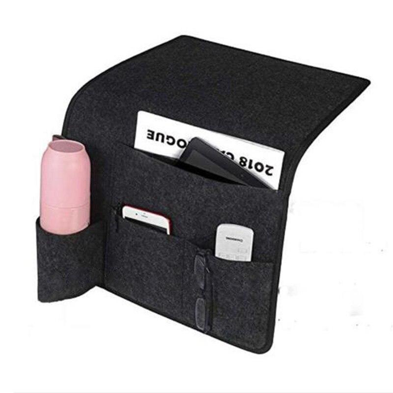Bolsa de almacenamiento para cabecera de cama de fieltro multifuncional gafas Remotes de gafas colgador de bolsillo Organización del hogar mandos a distancia