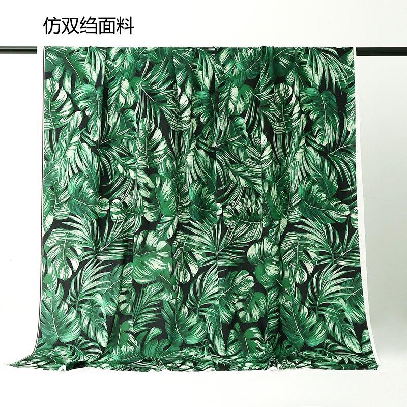 150x100cm campo europeo y americano selva Tropical verde grande Hoja imitación tela de doble crepé para mujer vestido blusa DIY
