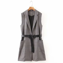 ZOEPO Tie Belt Waist Vests Women Fashion Casual Slim Houndstooth Coats Women Elegant Pockets Long Vests Female Ladies JN