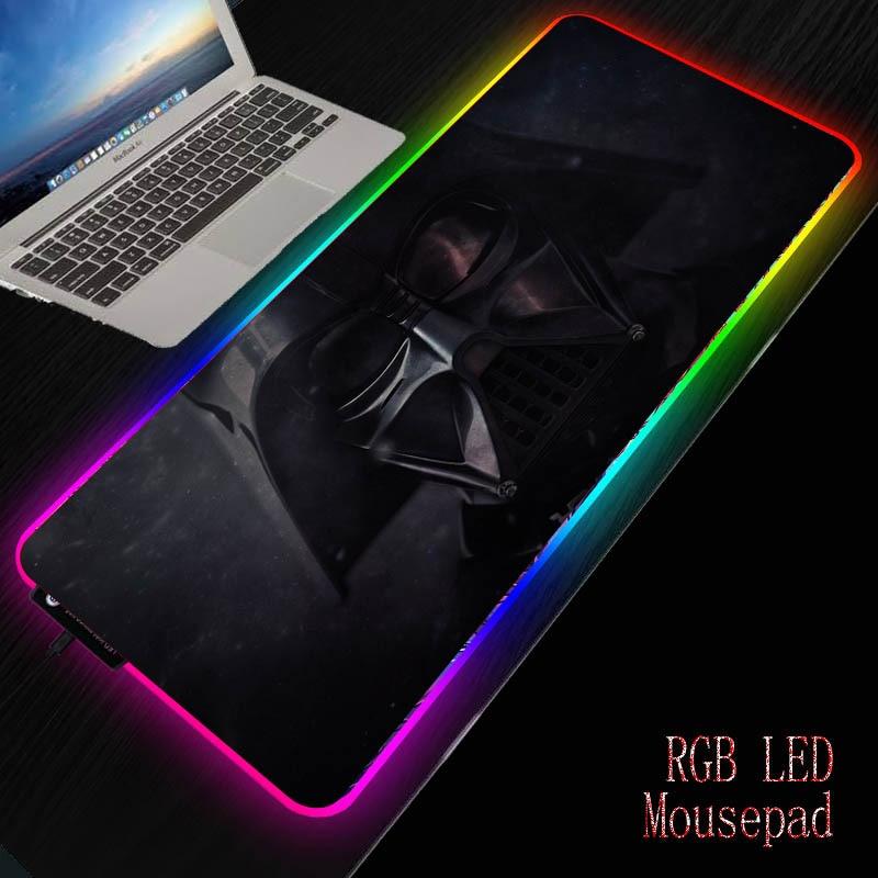 Mairuige diy colorido jogo rgb luz led mouse esteira de borracha natural macio computador mousepad estrela guerra mouse pad teclado