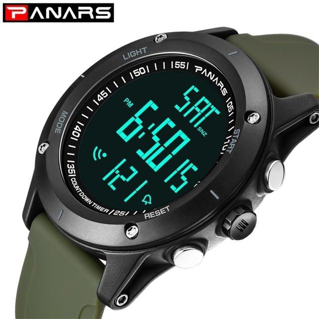 Pode nadar panars relógio do esporte dos homens grande face de fitness à prova dwaterproof água digital temporizador contagem regressiva relógios led relógio de pulso dos homens a3306