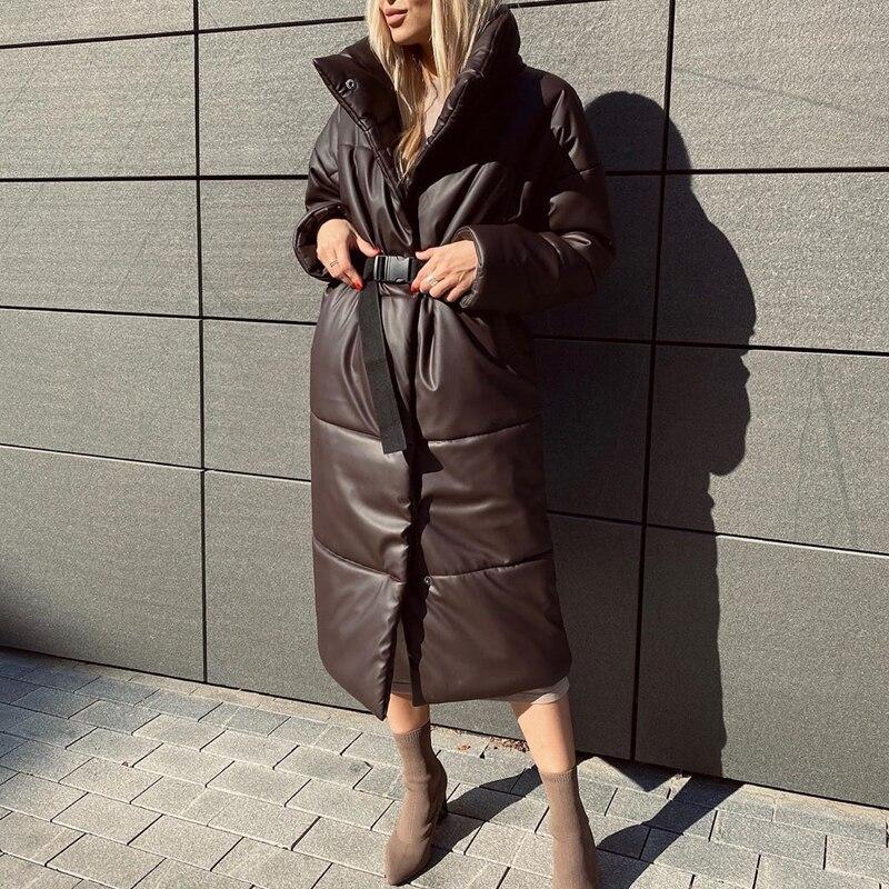 Winter Parkas Women Fashion Straight Loose Coats Women Elegant Pockets Long Cotton Jackets Female La