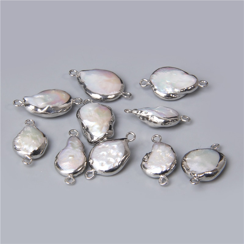 Perles rondes blanches naturelles, 3 pièces de breloques, deux trous, connecteur de breloques, pendentif pour la fabrication de bijoux, colliers et bracelets