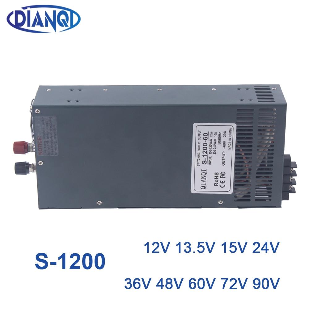 1200 واط 12V24V4 8 فولت تحويل التيار الكهربائي لشريط LED ضوء التيار المتناوب إلى تيار مستمر امدادات الطاقة 110 فولت 220 فولت 1200 واط S-1200-12 72 فولت 48 فولت 24 ...
