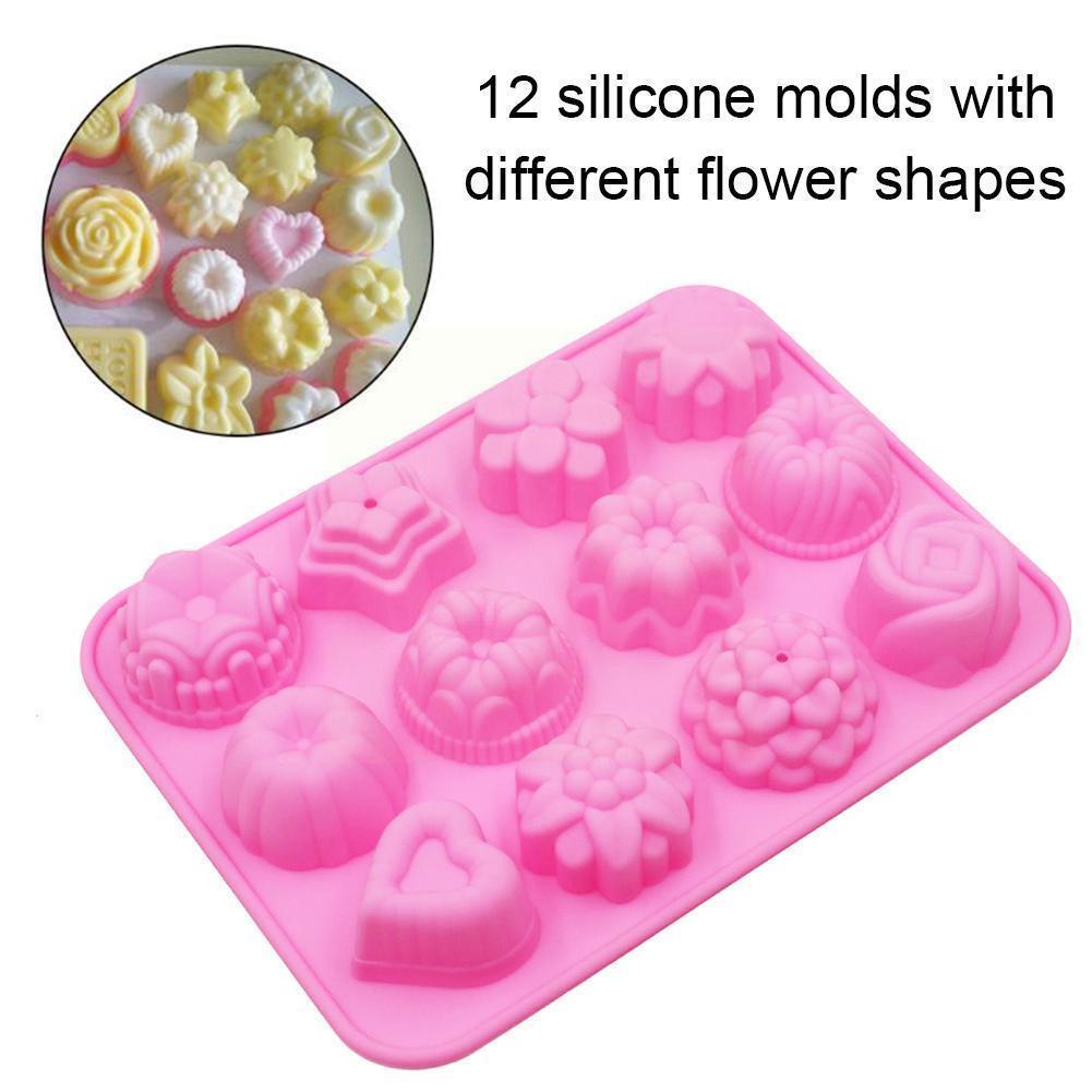Форма для выпечки торта с 12 полостями, пищевой силикон, принадлежности для выпечки мыла, сделай сам, форма, сковорода, формы для шоколада, 3D п...