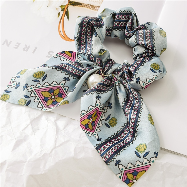 Candy Color Women Hair Scrunchie Bows Ponytail Holder Hairband Bow Knot Scrunchy Girls Hair Ties Hair Accessories Christmas