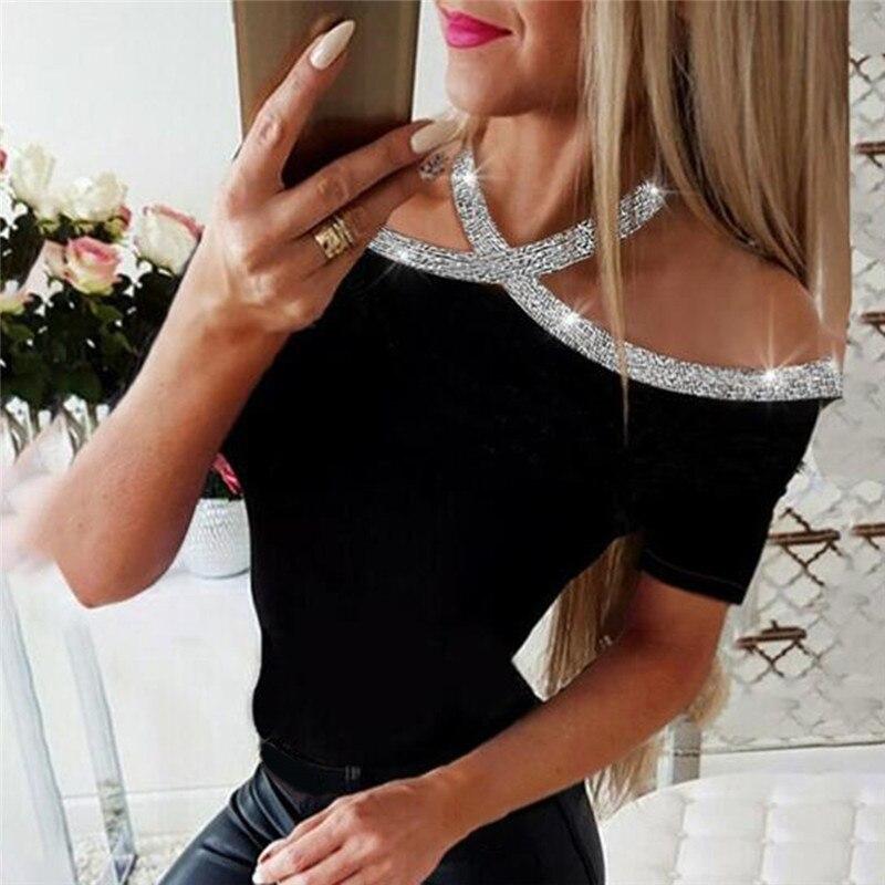 2020 Summer Women Elegant Basic Casual clothes Female Lace-up Leisure Shirt Rhinestone Details Halter Short Sleeve Shirts