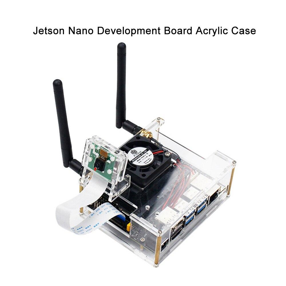 Transparente para Jetson Nano com Ventilador de Refrigeração Kit de Desenvolvimento Nvidia Jetson Nano Acrílico Capa