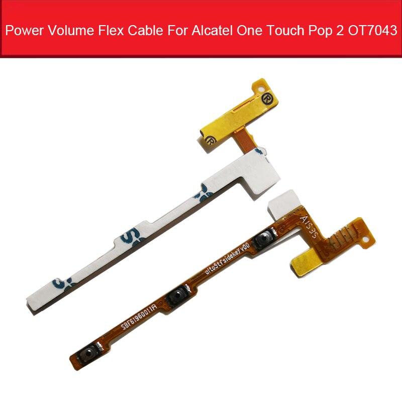 Power & Volume Flex Kabel Voor Alcatel One Touch Pop 2 OT7043 7043 7043Y 7043A 7043E 7043K Volume Up down Knop Flex Lint Kabel