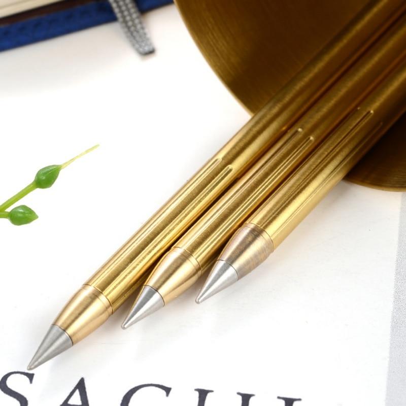 Новый Ретро латунный чернильный карандаш из чистого латунного металла без чернил ручка медная подарочная ручка стилус вечный карандаш для путешествий на открытом воздухе 1 шт.