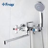 Frap melangeur de salle de bains a Double poignee  robinet de douche 30cm en acier inoxydable long nez sortie en laiton robinet de douche F2293