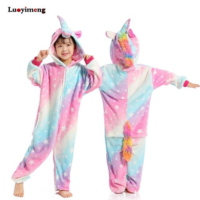 Children Kigurumi Unicorn Pajamas Kids Baby Animal Overalls Jumpsuit Onesie Panda Stitch Sleepwear Girls Cosplay Pyjama Pijamas Blanket Sleepers Aliexpress