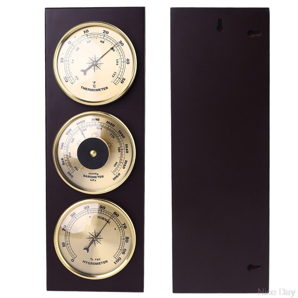 Juego de 3 unidades de termómetro, higrómetro, estación meteorológica con marco de madera, Base de adornos, 31cm x 11cm, Ju19 20
