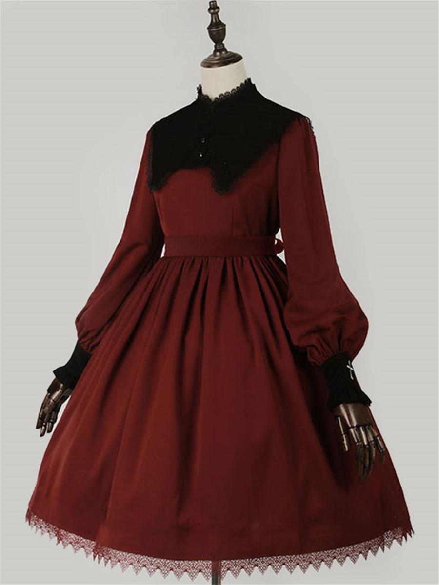 الكلاسيكية لوليتا فستان قطعة واحدة كم طويل عيد الميلاد لوليتا فستان