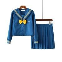 hot japanese cheerleader uniform new sailor uniform girls yellow bow autumn high school women novelty sailor suits uniforms