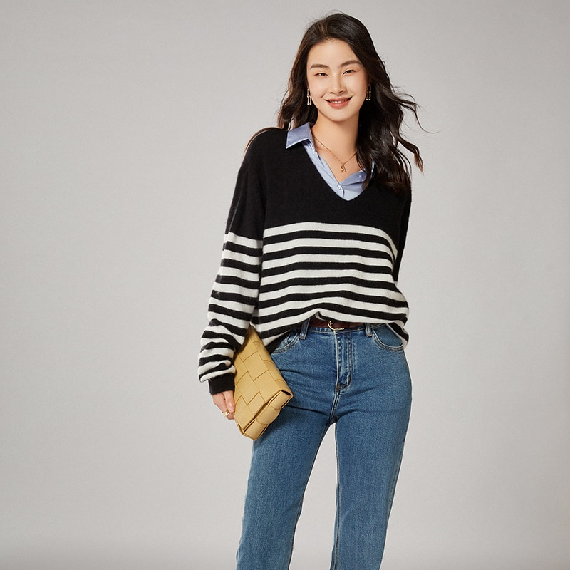 adohon 2021 woman winter 100% Cashmere sweaters knitted Pullovers jumper Warm Female V-neck blouse striped long sleeve clothing enlarge