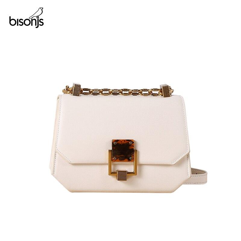 BISONJS 2020 New Female Bag Simple Small Square Bag Chain White Small Black Bag Shoulder Crossbody Bag Genuine Leather B10003
