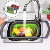 foldable drain basket fruit vegetable washing basket colander collapsible strainer silicone scalable drainer with handle storage