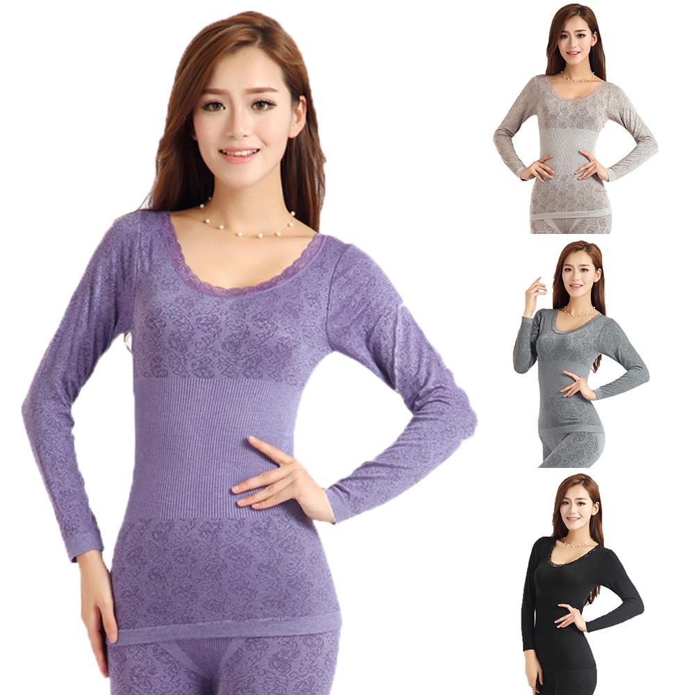 Autumn Winter Women Thermal Underwear High Elasticity O-Neck Top Long Johns Pajama Set Ladies Sexy L