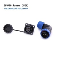 sp20 ip68 square 90 degree elbow waterproof connector industrial aviation connectors 12345679101214 pin