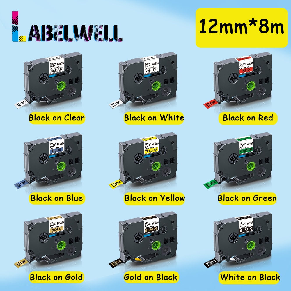 Labelwell 1Pcs 12mm*8m Compatible for 231 Black on White 431 531 631 731 831 multicolors compatible for Label Maker