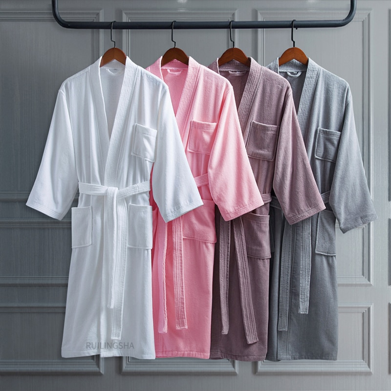 100% Cotton Long Thick Absorbent Terry Bath Robe Kimono Men LightWeight Waffle Towel Bathrobe Plus Sleepwear Women Dressing Gown