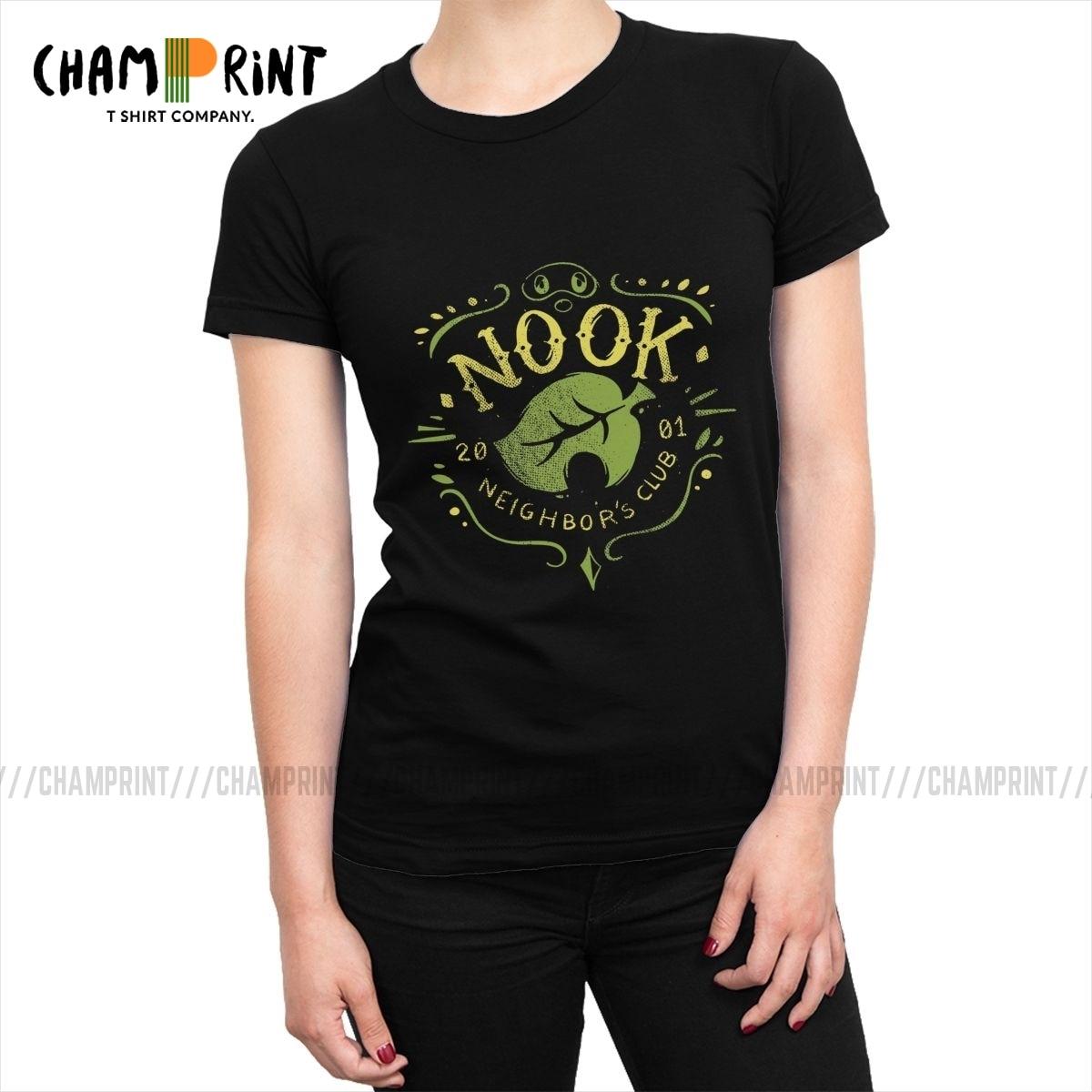 Nook Neighbors Club Mujeres camisetas Animal Crossing videojuegos moda camiseta camisetas con cuello redondo Camiseta divertida ropa femenina