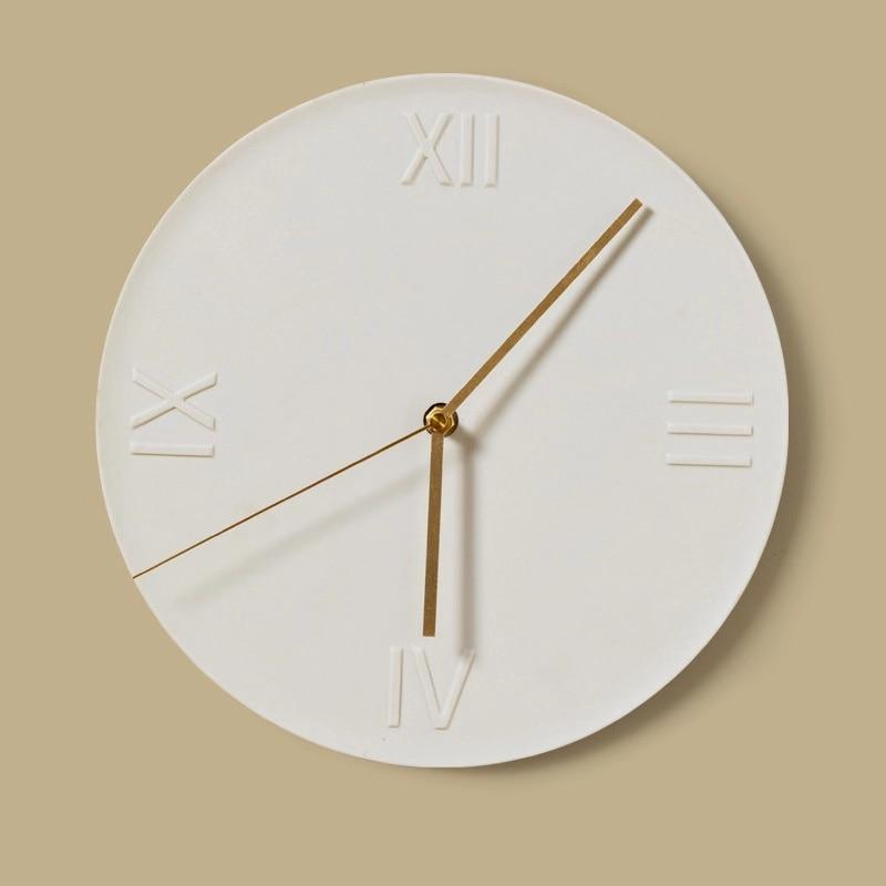 Reloj de pared nórdico contemporáneo, silencioso, cerámica, sala de estar, personalidad creativa, sala de estar, hoja de resina de 12 Mm