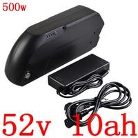 36V 48V 52V 10AH electric bicycle battery 52V 10AH lithium battery pack with 58.8V 2A charger for 48V 500W ebike motor free duty