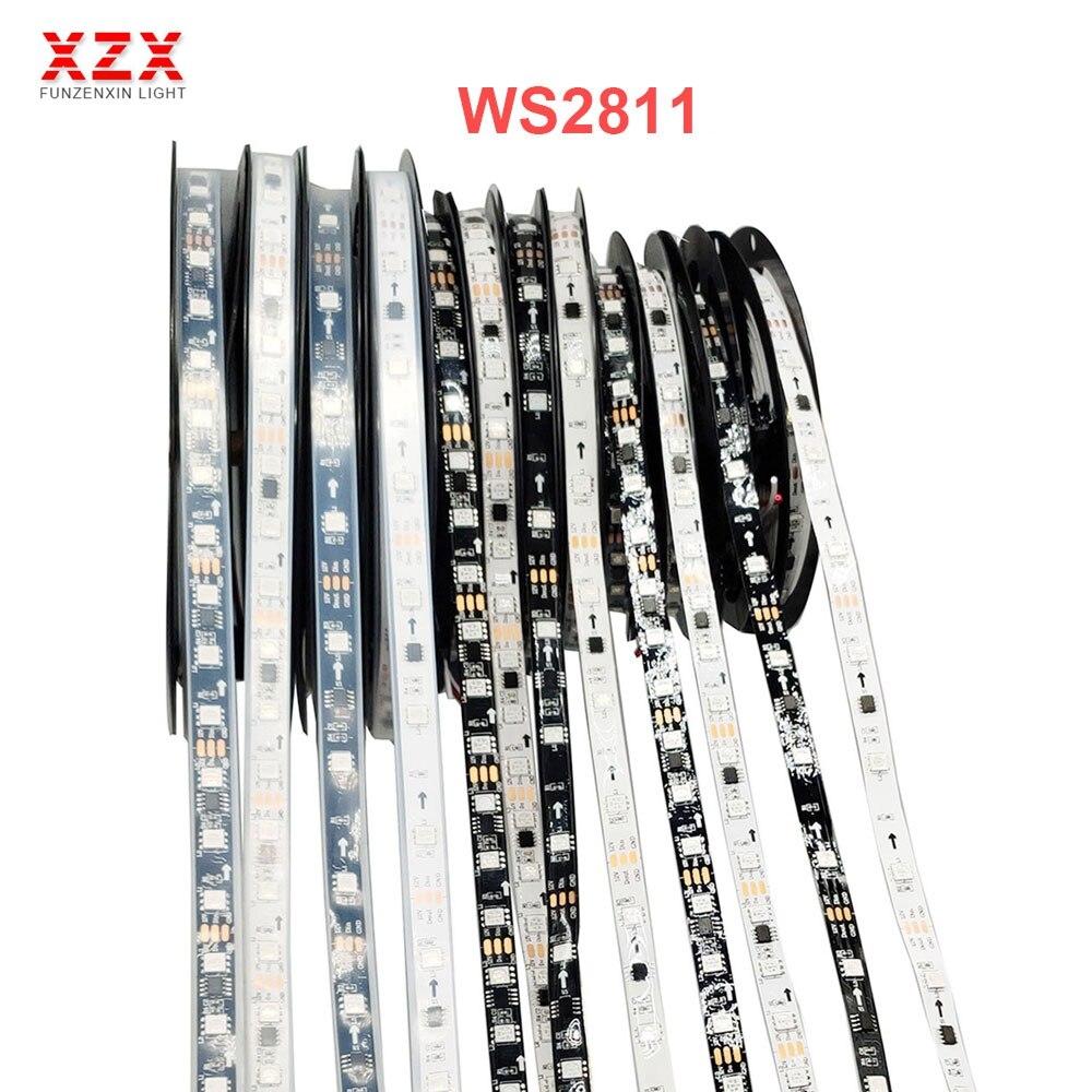 WS2811 SMD 5050 RGB tira direccionable luz LED 30/48/60/144leds/m píxeles Led externo 1 DE Control Ic 3 Leds DC12V cinta LED de luces