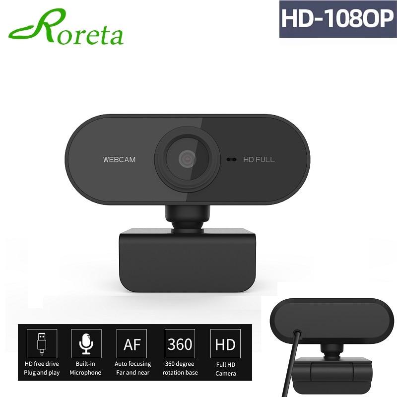 Roreta HD 1080P mini camera Computer PC Web Camera With mic Rotatable Camera For Live Broadcast Video Calling Conference Work