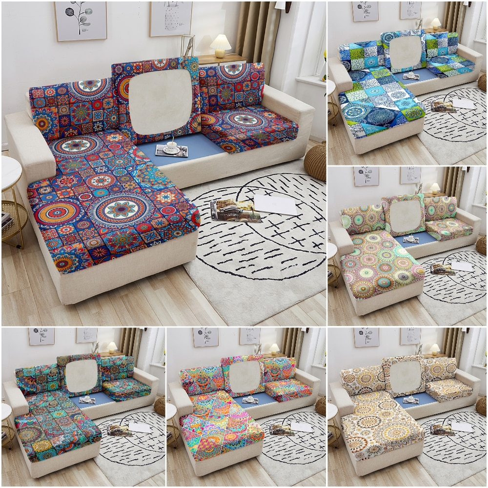 Эластичные чехлы на диванные сиденья для гостиной, мебельные с мандалой, эластичные сиденья, чехол 1/2/3/...