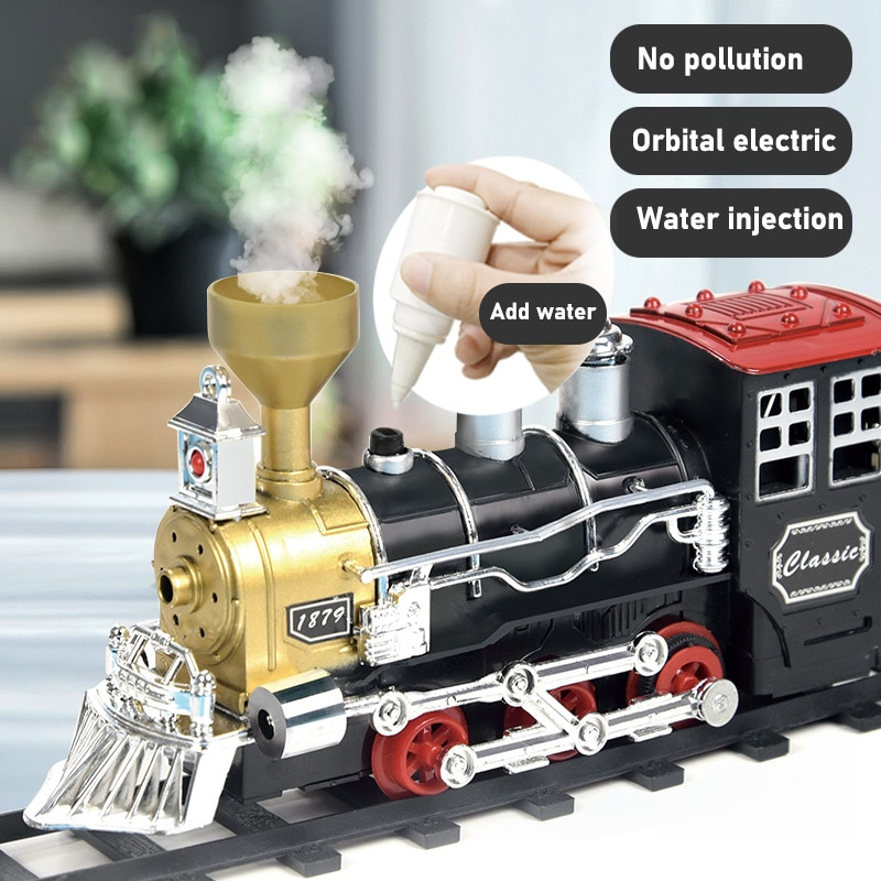 Children's train track toy electric steam simulation smoking high-speed rail multi-section long carriage suit boy