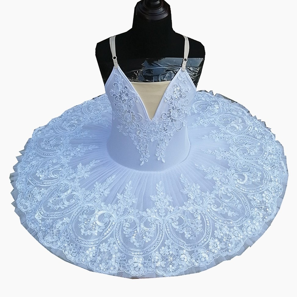 2019 nuevos niños tutú Ballet Platter faldas encaje lentejuelas blanco Cisne lago espectáculo danza del vientre traje de actuación