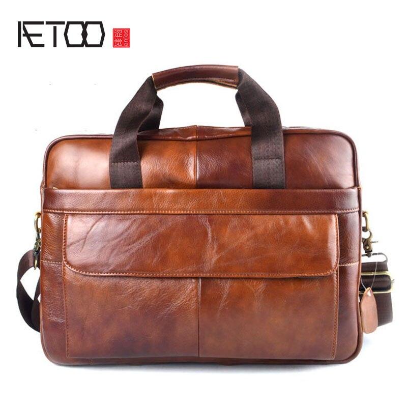 Сумка для ноутбука AETOO из натуральной кожи, деловые сумки из воловьей кожи, мужская сумка через плечо, Мужской Дорожный коричневый кожаный портфель