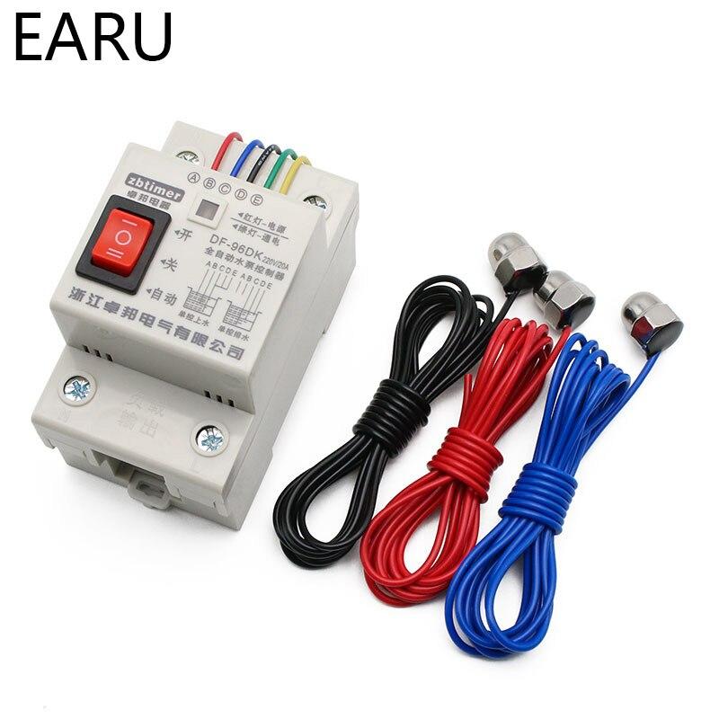 Interruptor automático do controlador de nível da água, interruptor 10a DF-96DK v, sensor de detecção de nível líquido, controle da bomba de água no porbe