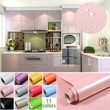 1M rouleau brillant étanche PVC armoire papier peint auto-adhésif Contact papier armoire pour porte meubles autocollants salle de bain cuisine