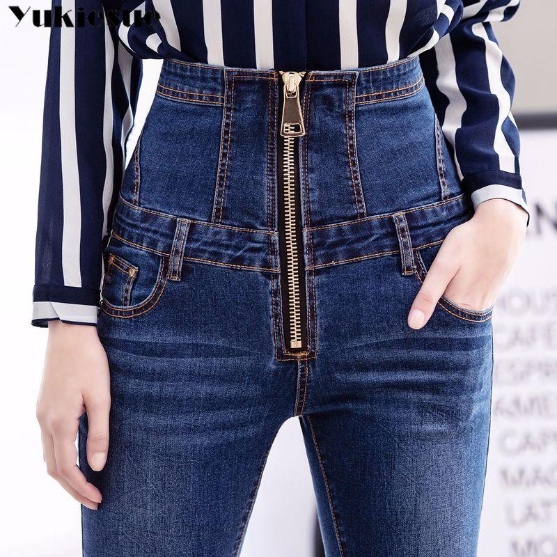 2019 Jeans Womens High Waist Elastic Skinny Denim Long Pencil Pants Plus Size 40 Woman Jeans Camisa Feminina Lady Fat Trousers