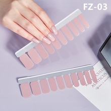 20Tips French Nail Art Stickers Pure Polish Foils Manicure Full Cover Adhesive Sticker Glitter Beaut
