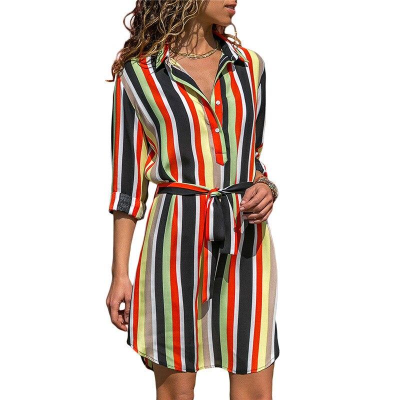 Vestido de verano camisa de manga larga 2019 verano chifón Boho playa Vestidos de mujer Casual rayado estampado A-line Mini vestido de fiesta de noche Vestidos