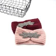 1 pièces femmes tricoté bandeaux femmes hiver chaud Crochet tête enveloppement large bandeau avec accessoires bandes de cheveux pour dame