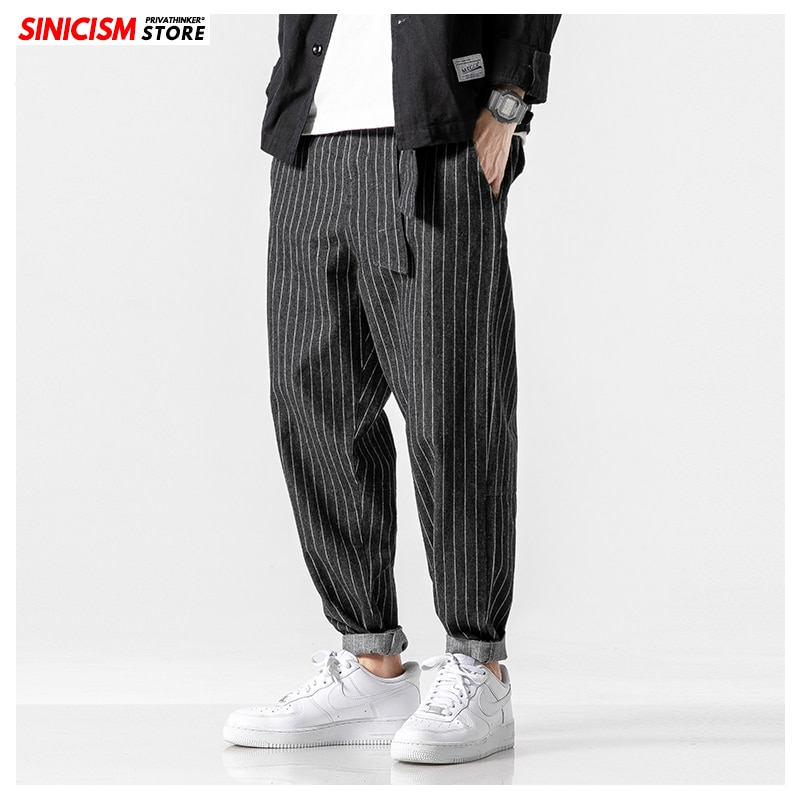 MrGB Men's 2021 Streetwear Loose Denim Pants With Belt Men Spring Striped Oversize Harem Pants Male Fashion Pockets Jeans