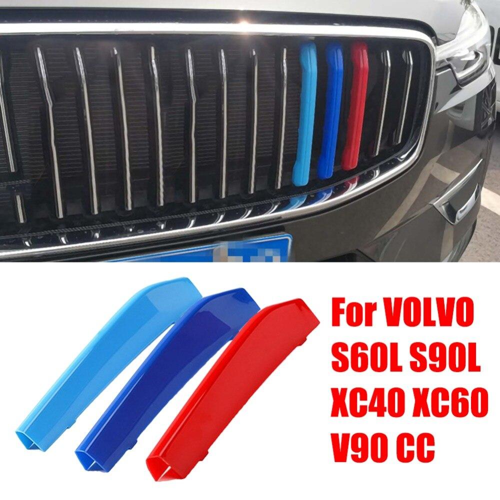Carro m cores grade dianteira barra capa decalque tarja clipe acessórios para volvo s60l s90l xc40 xc60 xc90 xc70 v90 cc s90 s60 s40 v60