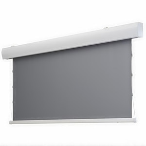 ALR Electric tab-tensioned drop down screen Obsidian Long Throw Ambient Light Rejecting
